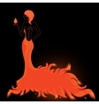 Girl in a fiery dress vector image