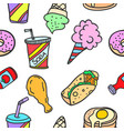 food and drink of doodles vector image