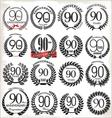 90 years anniversary laurel wreaths vector image