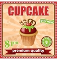 Vintage cupcake poster vector image vector image