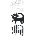 Cat set black 05 vector image
