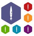 drawing brush icons set hexagon vector image