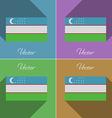 Flags Uzbekistan Set of colors flat design and vector image