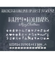 Holiday decorations and alphabet on a blackboard vector image