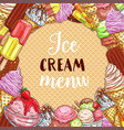 ice cream menu sketch poster on waffle texture vector image