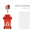 Metal waste sorting flat concept vector image
