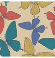 seamless background with butterflies vintage color vector image