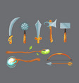 set of fantasy cartoon game design swords vector image
