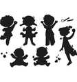 Six silhouettes of happy children vector image