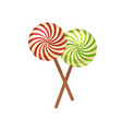 sweet crossed lollypops on wooden sticks isolated vector image