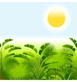 Tropical palm with sea on sunny background vector image