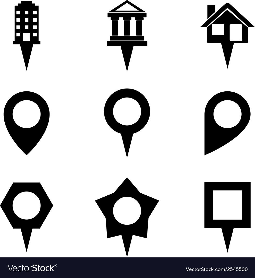 Landmark and showplace symbol map pointer mark vector