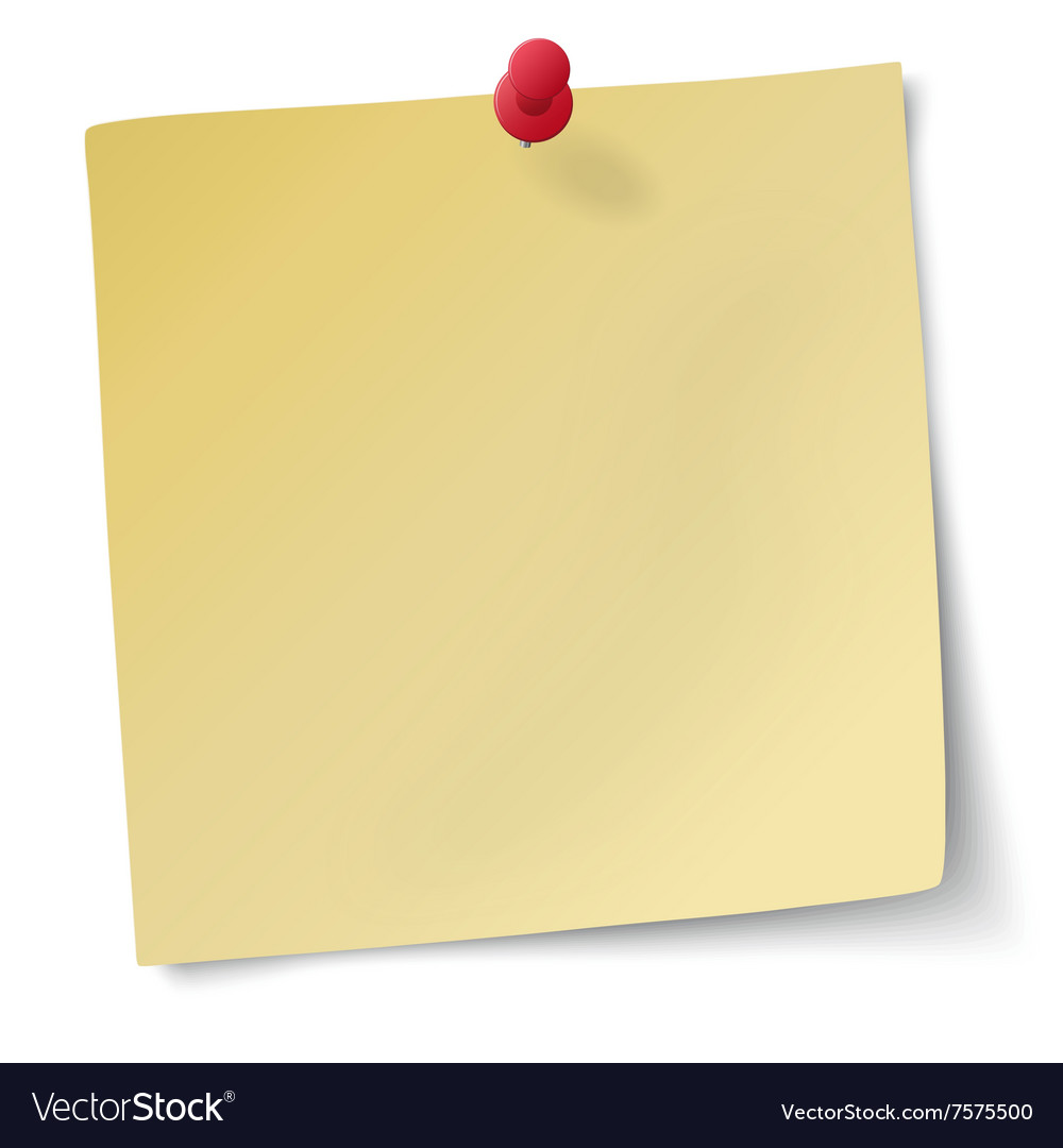 Yellow sticky note with drawingpin vector