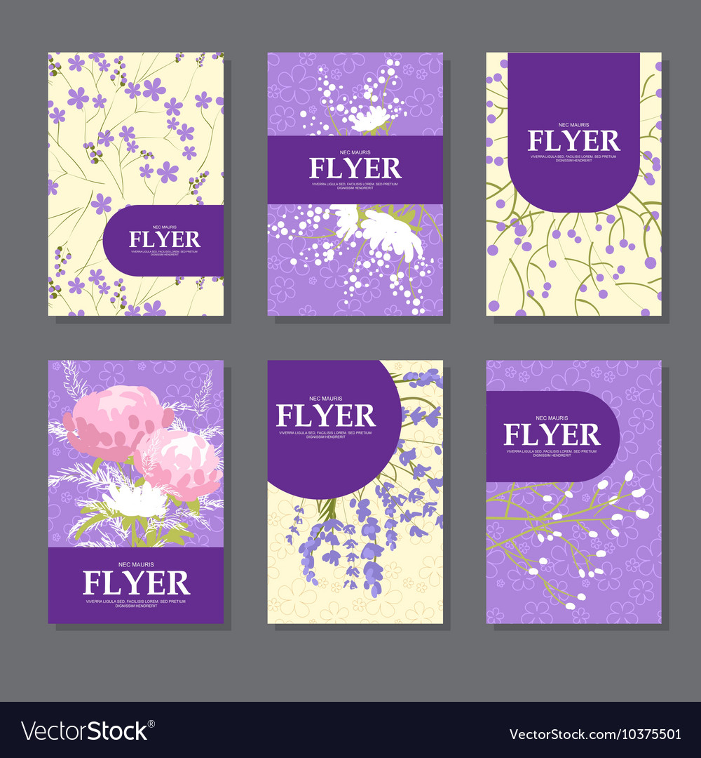 Collection of square cards with delicate flowers vector