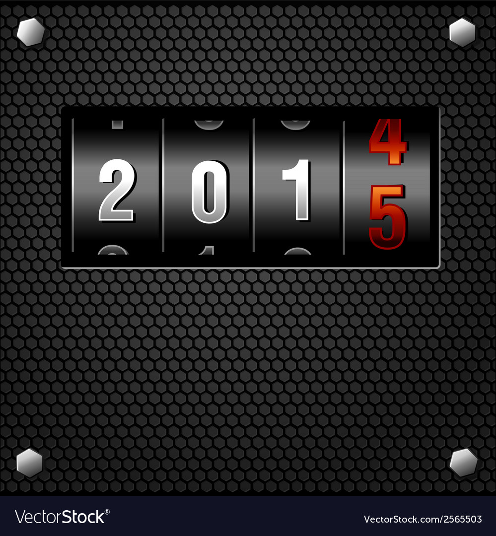 2015 new year analog counter on metal plate vector
