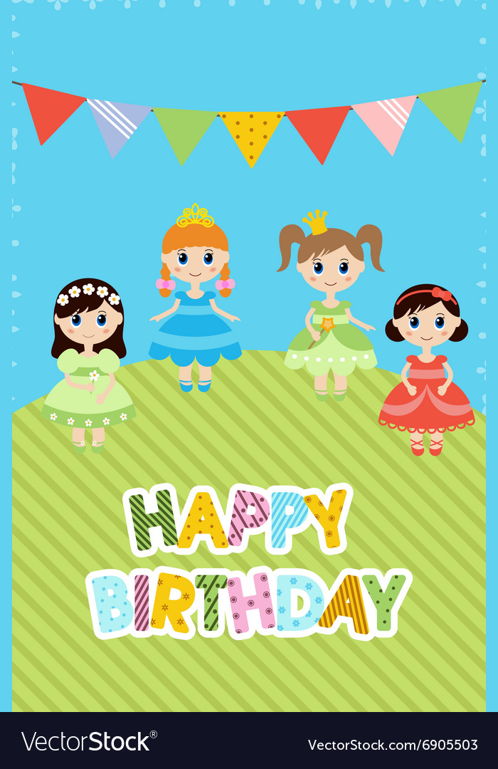 Greeting card with little girls vector
