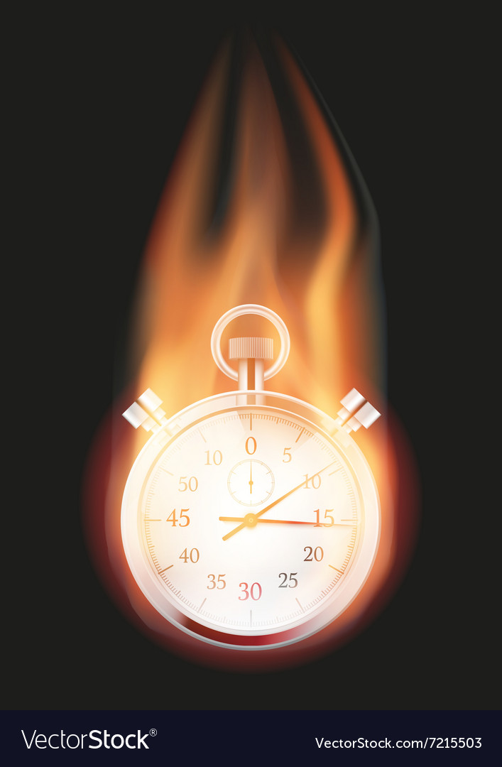 Stopwatch with flame vector