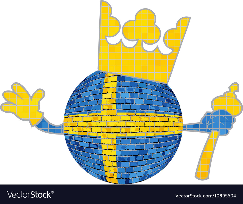 Brick ball with swedish flag vector