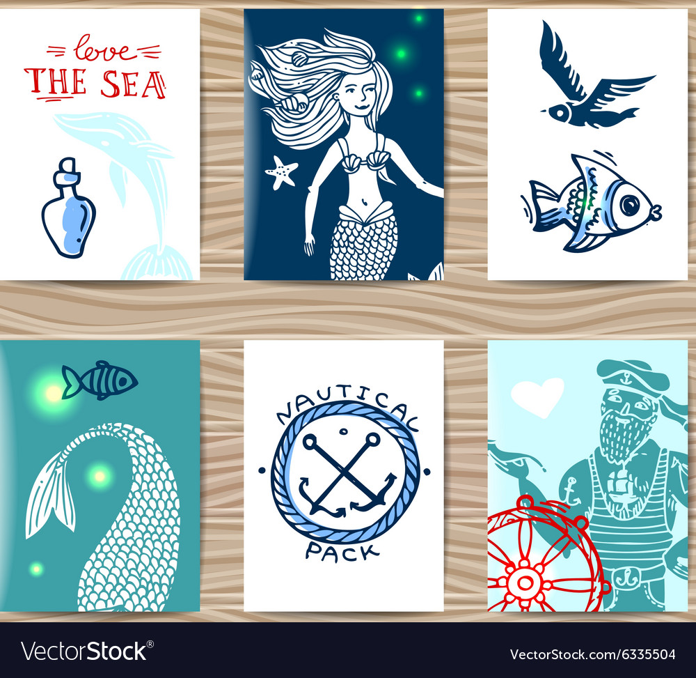 Sailor and mermaid vector