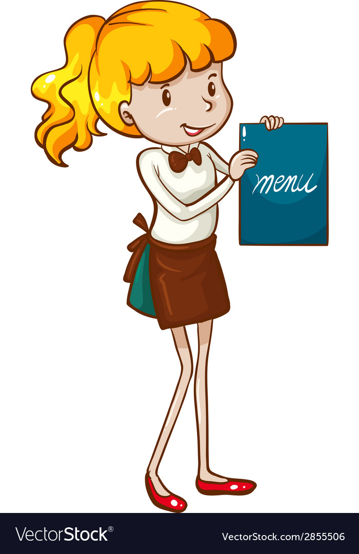 A simple sketch of a waitress holding a menu vector