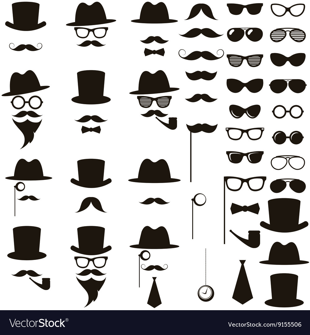 Black retro gentleman icons set vector