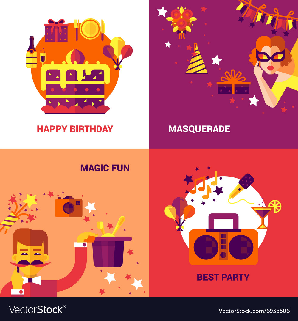 Party design concept set vector