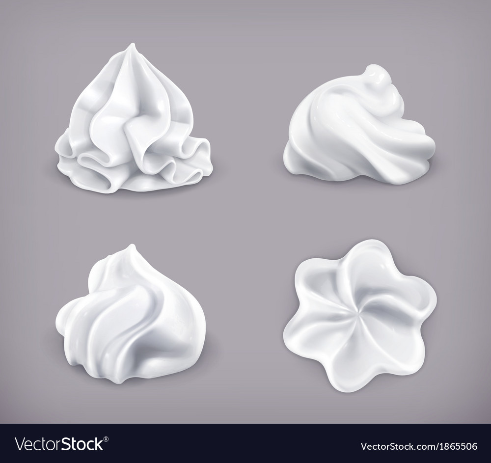 Whipped cream icon set vector