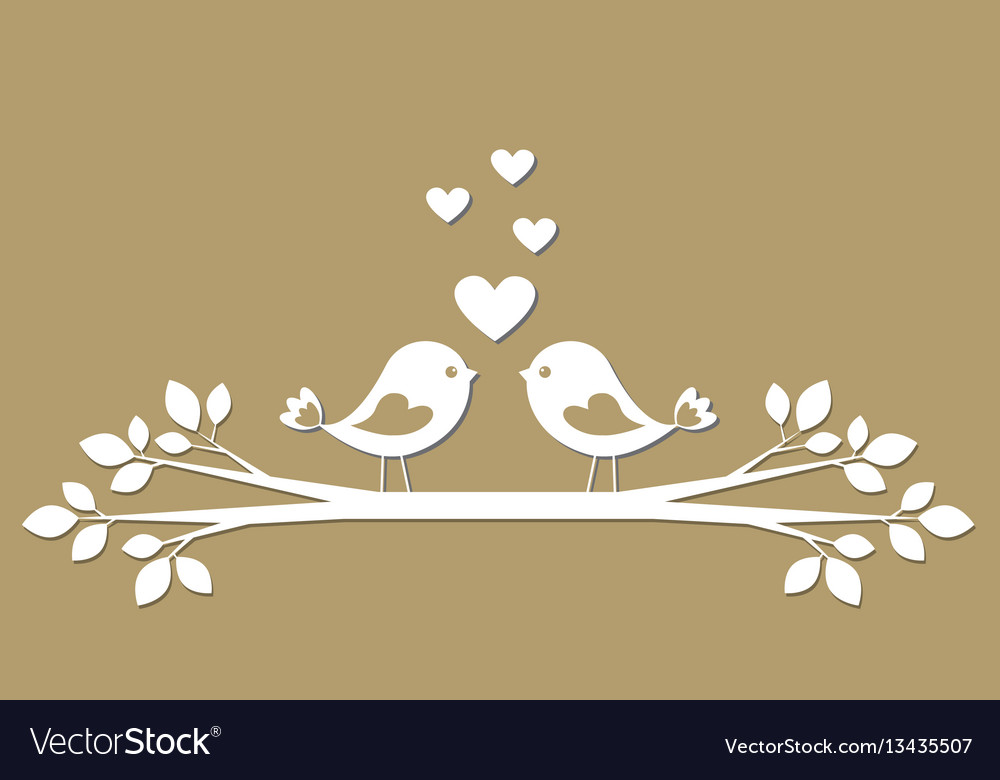 Cute birds with hearts cutting from paper vector