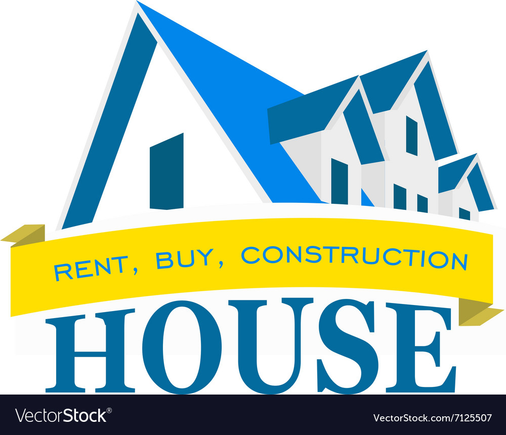 Logo house rental sales and construction vector