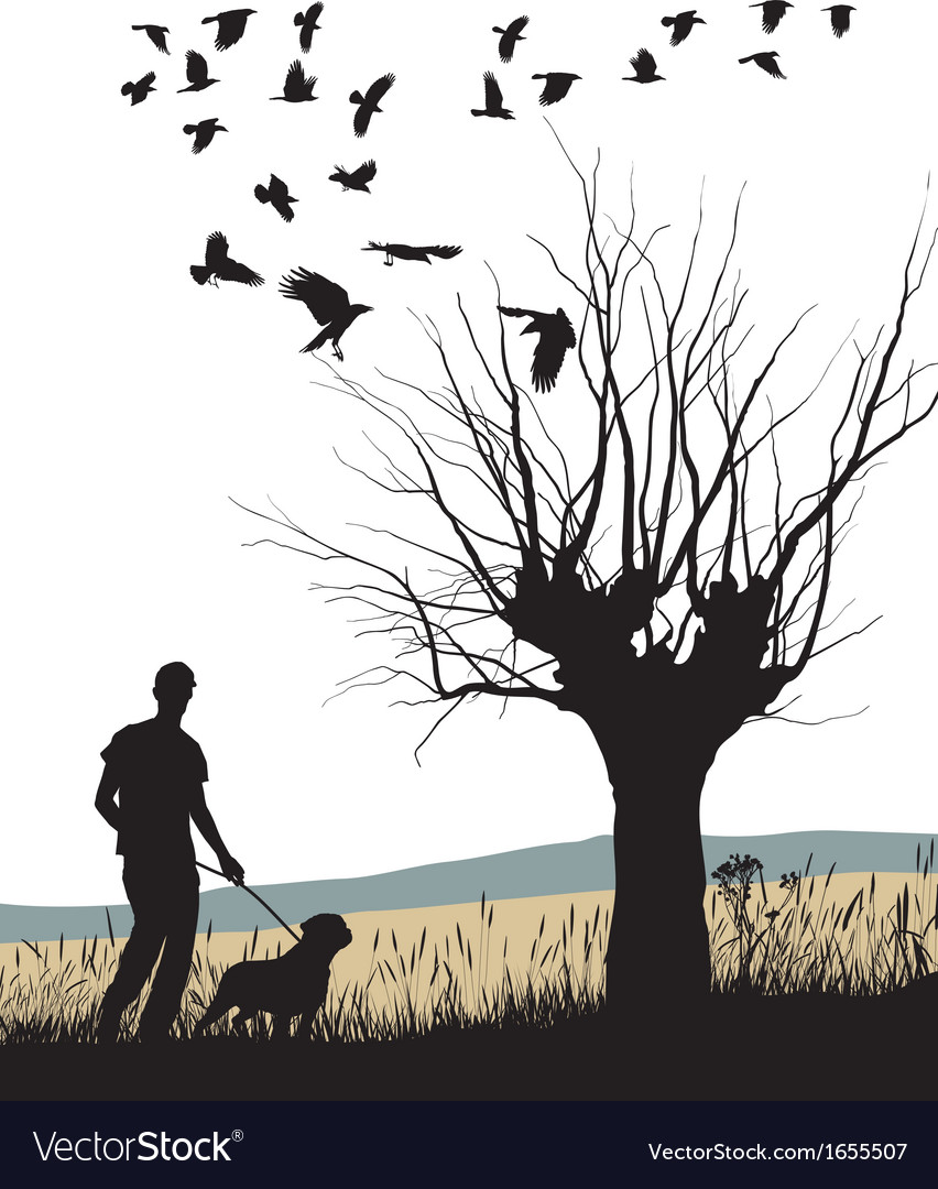 Man and dog in the country vector