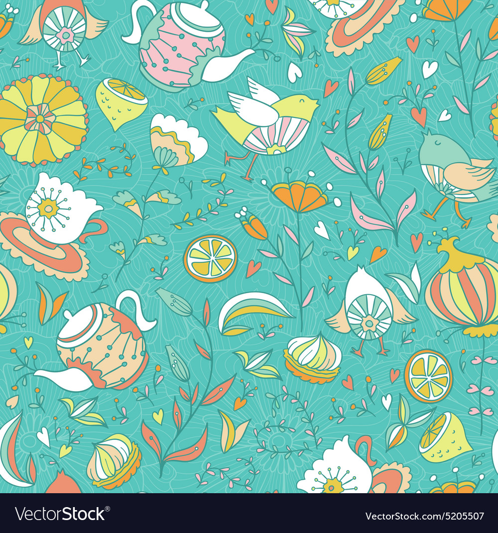 Teasweets bird and flowers seamless doodle pattern vector