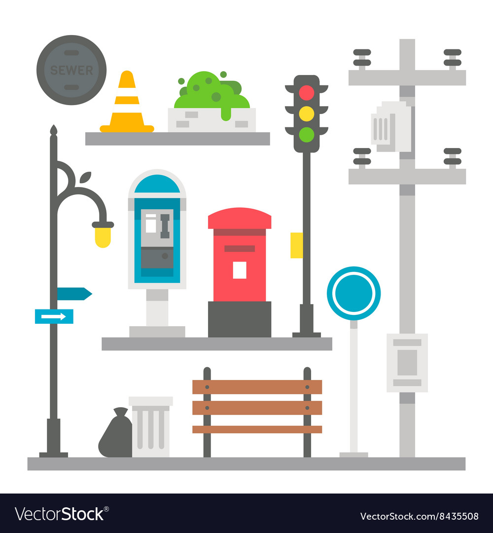 Flat design street items set vector