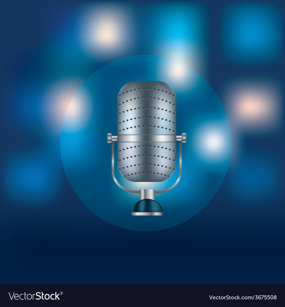 Metal retro microphone for speeches vector