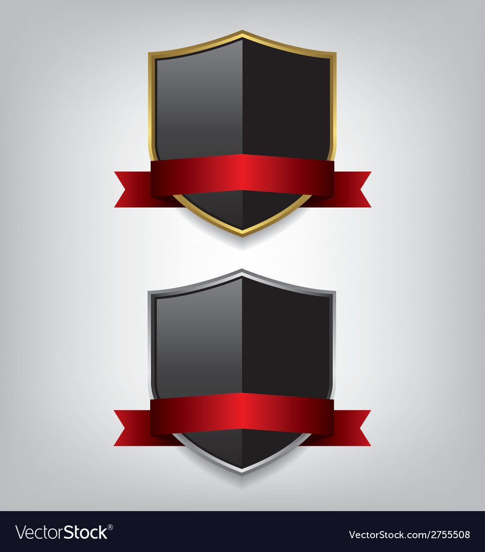 Shield gold and silver with red ribbon vector