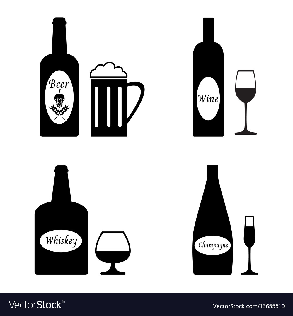 Alcohol drinks icon set vector