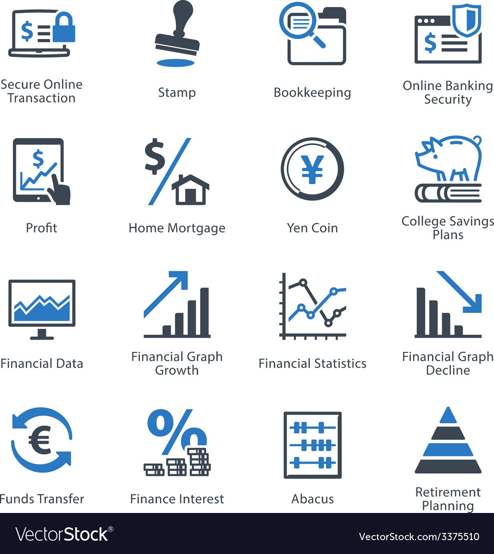 Finance icons set 3  blue series vector