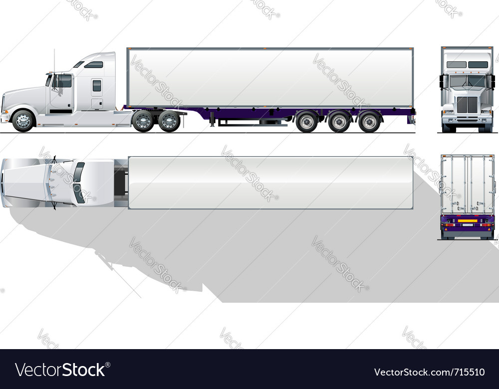 Hidetailed commercial semitruck vector