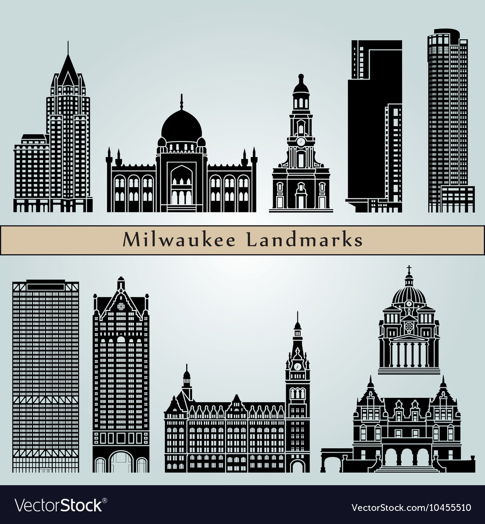 Milwaukee landmarks and monuments vector