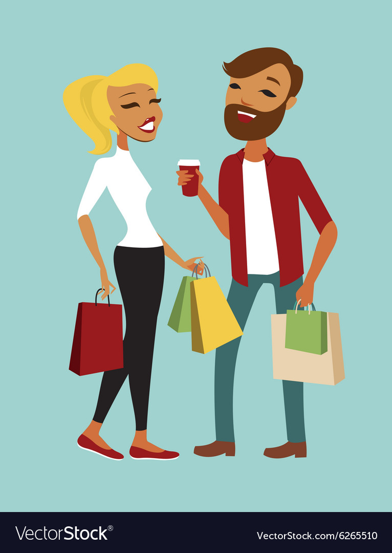 Young couple shopping vector