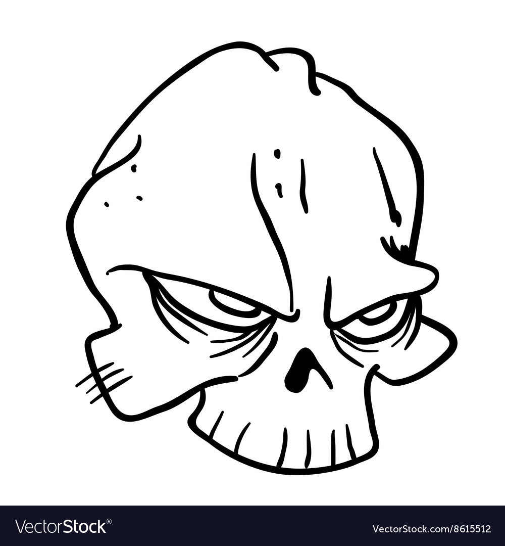 Simple black and white skull 1 vector