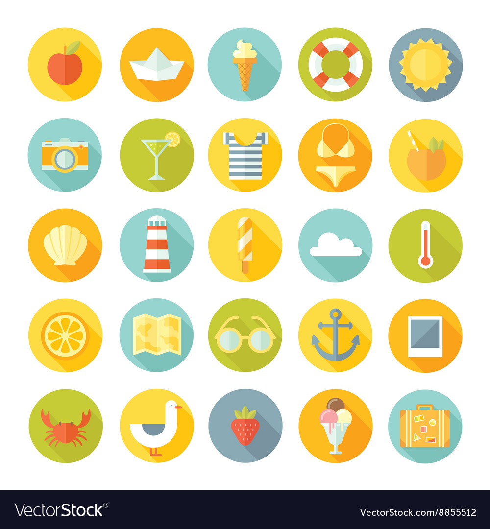 Travel vacation flat design big icons set vector