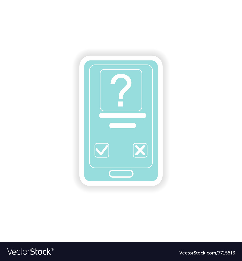 Paper sticker on white background mobile phone sms vector