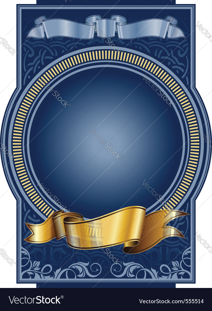 Blue label with circle frame vector