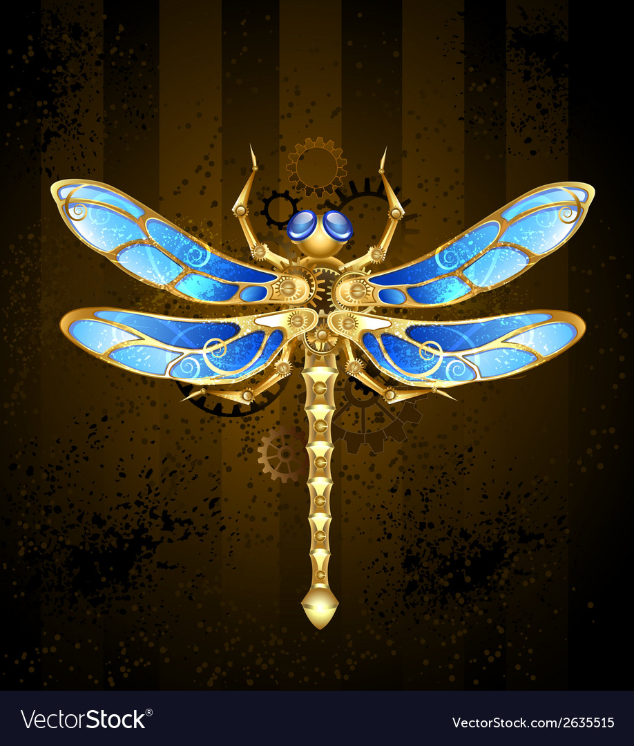 Mechanical dragonfly vector