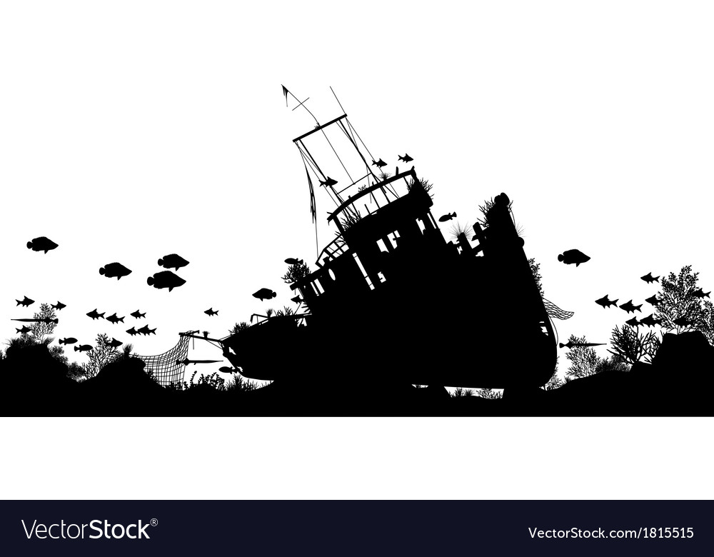 Shipwreck foreground vector