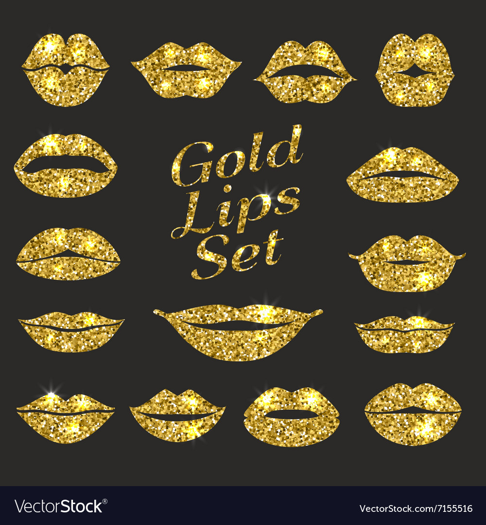 Lips set design element of glitters vector
