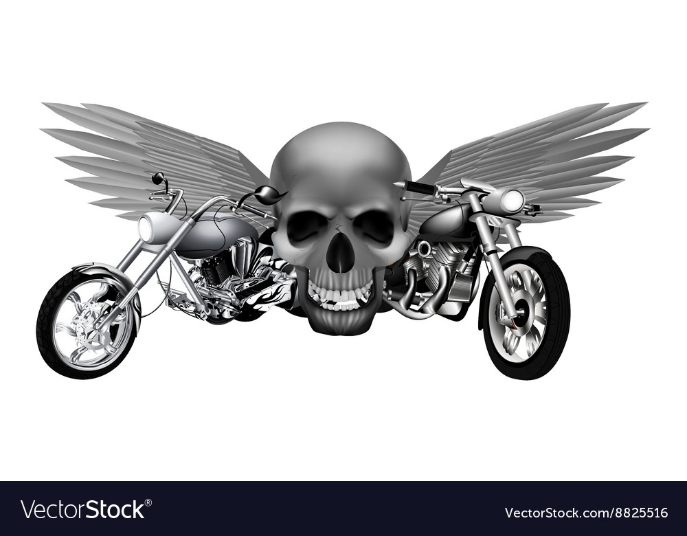 Road motorcycles on the background of a skull vector