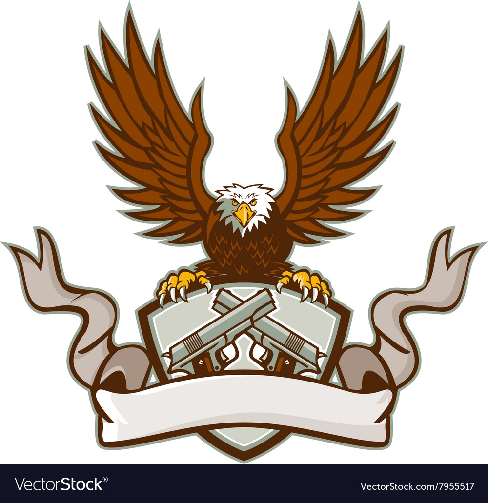Bald eagle crossed 45 caliber pistols shield retro vector