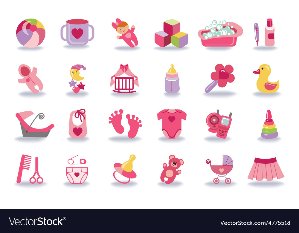 Newborn baby girl icons setbaby shower kit vector