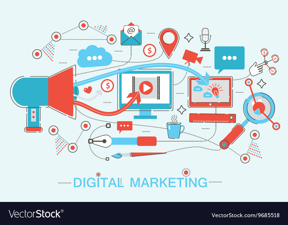 Online digital marketing and social network media vector